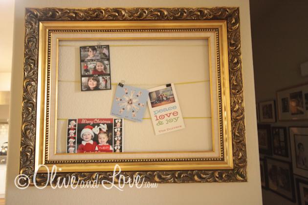 CHristmas card display upcycle frame