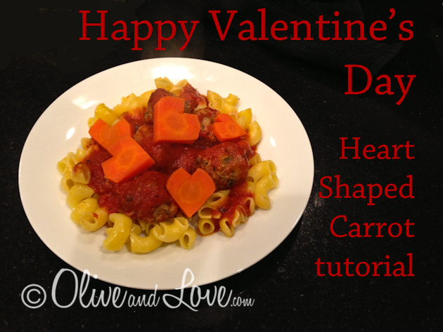 Valentines day dinner heart shaped carrots