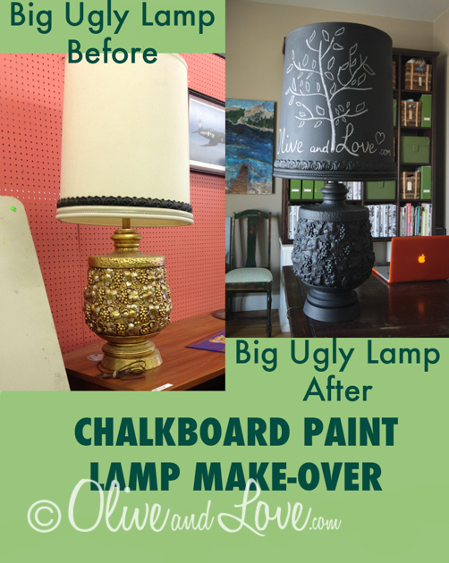 chalkboard paint lamp