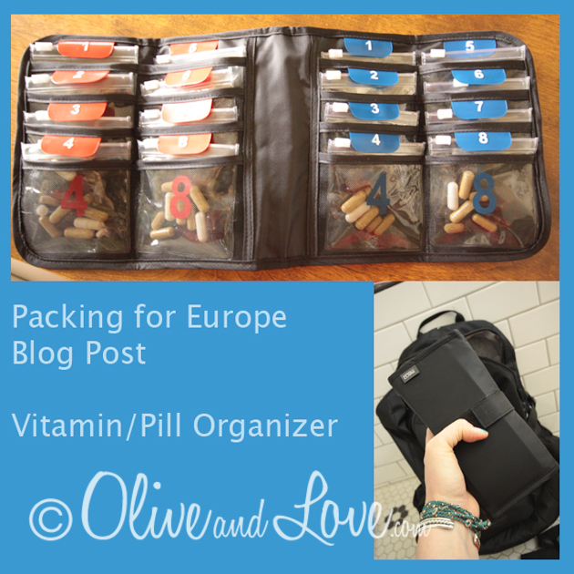 Travel pill vitamin organizer packing for paris, europe, barcelona