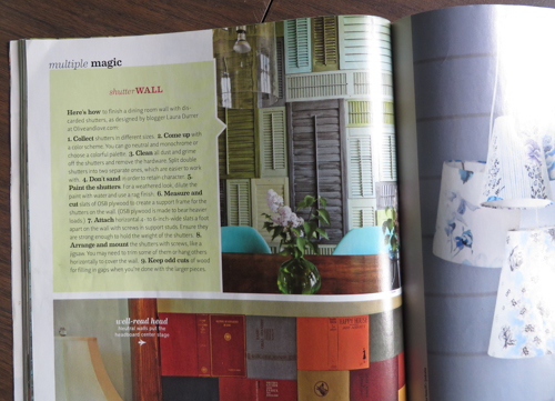 olive and love shutter wall in decorating shortcuts magazine