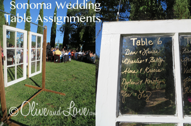 sonoma wedding table assignments old windows