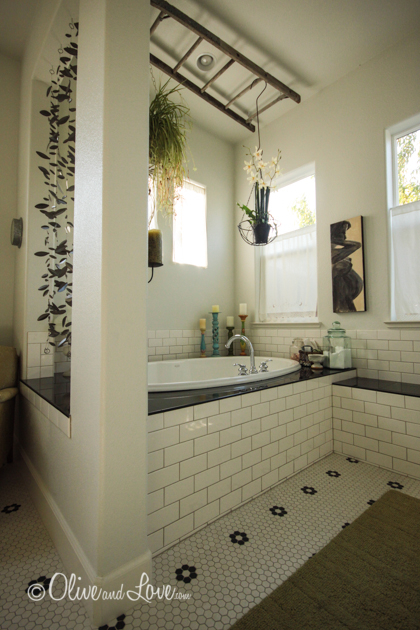 master bathroom ladder plant holder