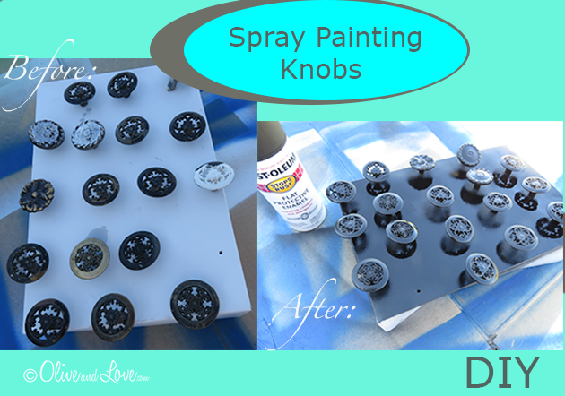 How to spray paint cabinet drawer bathroom knobs