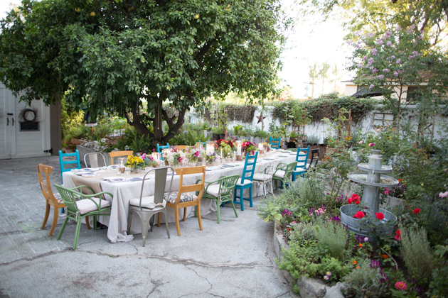 garden party with mis matched chairs