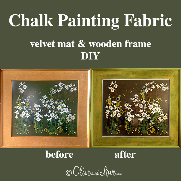 Chalk painting fabric wood mat frame