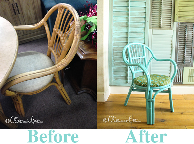 before and after painting rattan dining chair and recovering pad