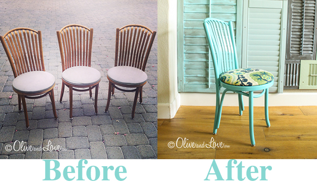 before and after painting a wooden chair and recovering seat.