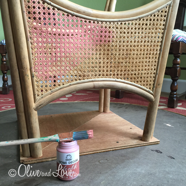 Folk Art coral chalk paint rattan table with laminate top