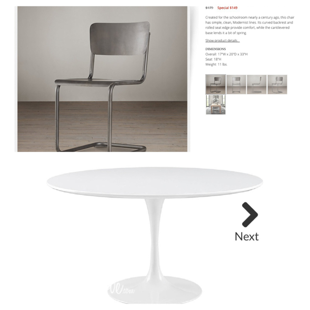 white tulip table with metal restoration hardware world market chairs