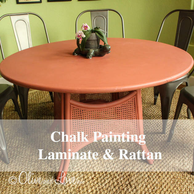 chalk painting laminate and rattan table