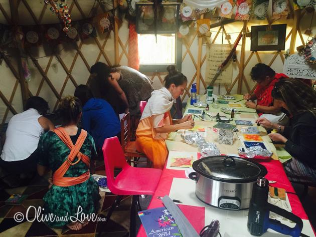 Yurt art studio goddess gathering space where I taught wax art