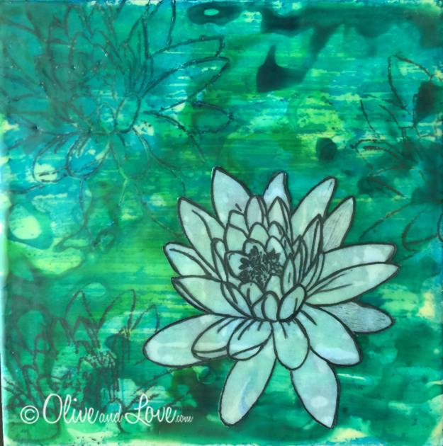 Beeswax art multi media with lotus flower