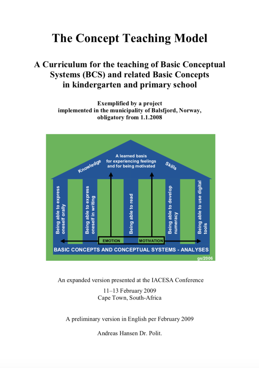 The Concept Teaching Model. - A Curriculum for the teaching of Basic Conceptual Systems (BCSs) in kindergarten and primary school(Hansen, 2009).