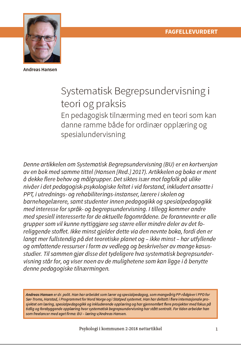 Systematisk Begrepsundervisning i teori og praksis - (Hansen, 2018)Click on article image to the left to download this article.