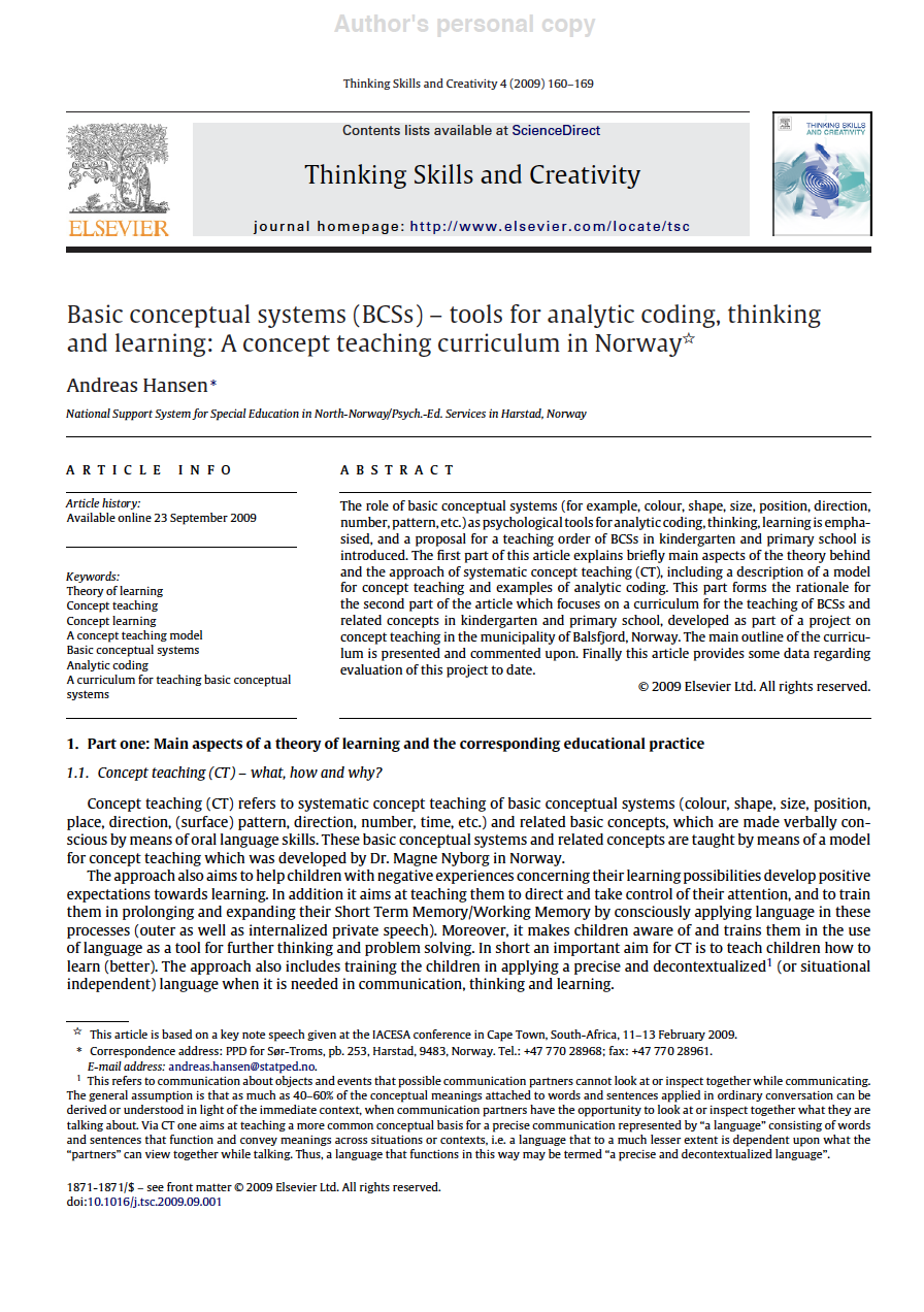 Basic conceptual systems (BCSs) – tools for analytic coding, thinking and learning: A concept teaching curriculum in Norway - (Hansen, 2009)Click on article image to the left to download this article.