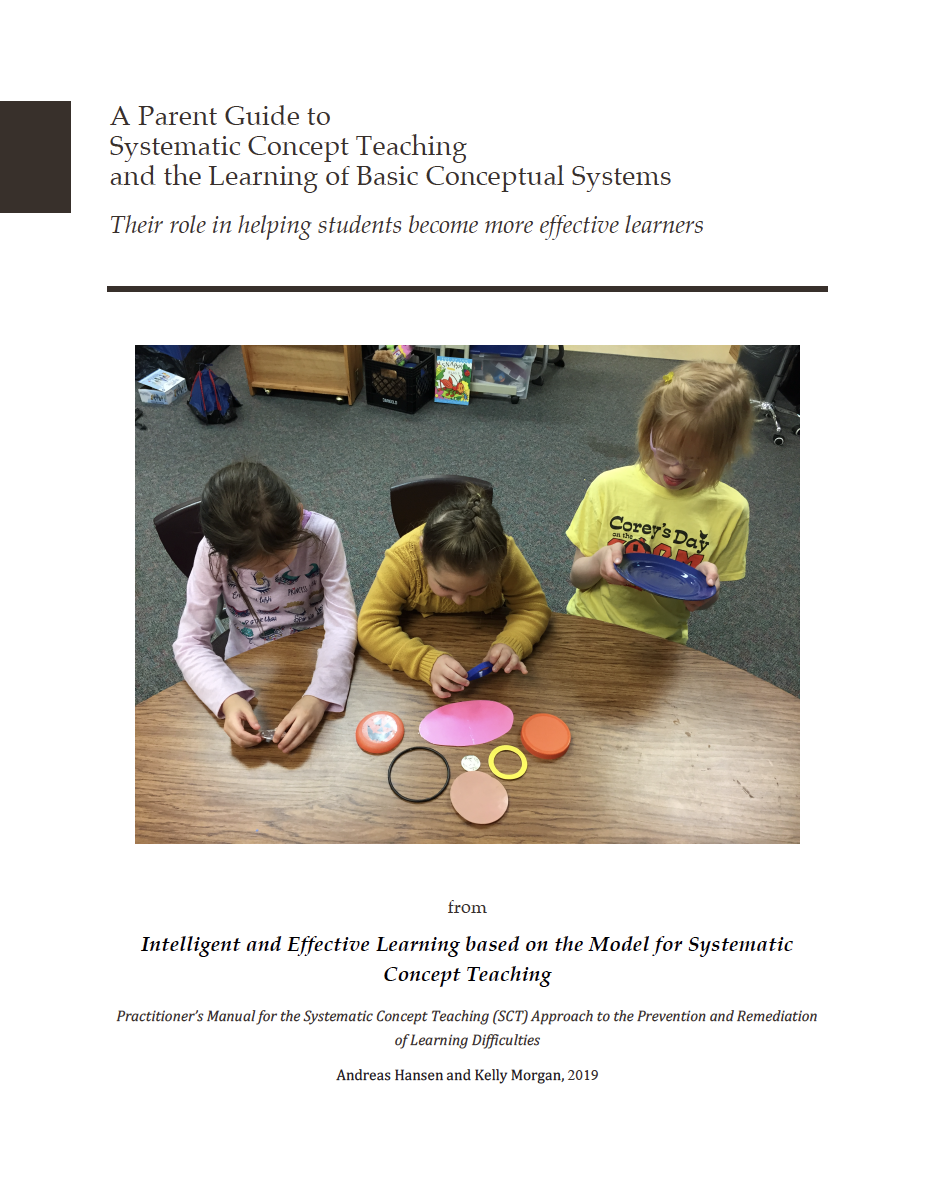 A Parent Guide to SCT and the learning of Basic Conceptual Systems - from the text of:Intelligent and Effective Learning based on the Model for Systematic Concept TeachingPractitioner's Manual for the Systematic Concept Teaching (SCT) Approach to the Prevention and Remediation of Learning Difficulties(Hansen, Morgan 2019)