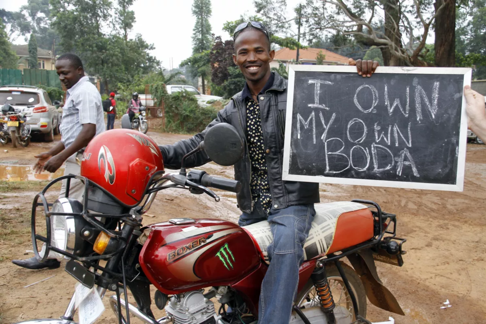 """Social Business Example: Tugende - Tugende creates opportunity for motorcycle taxi (or """"boda boda"""") drivers in Uganda by providing affordable lease-to-own options for the bikes. After they were unable to obtain loans from local banks, YSB provided a working capital loan to Tugende. This investment helped bridge the gap before the business brought on a larger investment. Today, the social business has leased thousands of bodas and has positively impacted more than 50,000 people."""