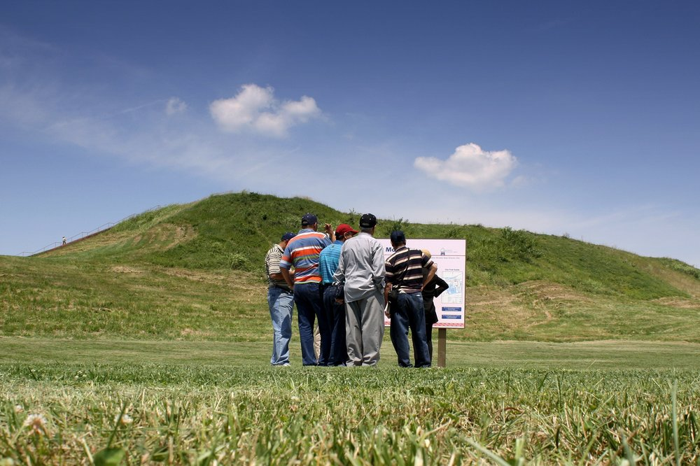 International archaeologists visit Monks Mound at the Cahokia Mounds World Heritage Site