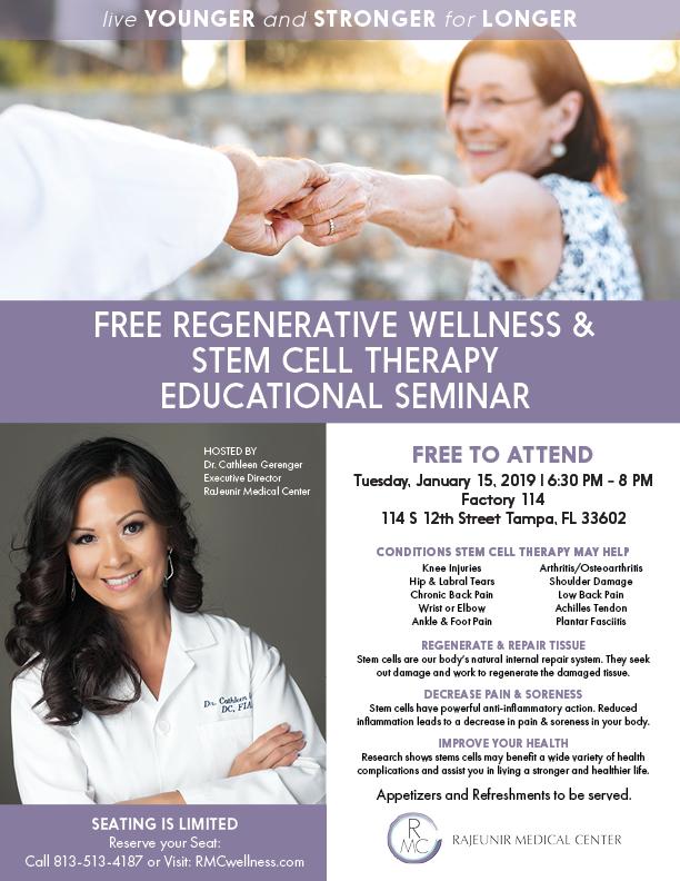 Free event - Regenerative Wellness & Stem Cell Therapy SeminarJanuary 15, 2018 | 6:30 PM - 8 PM