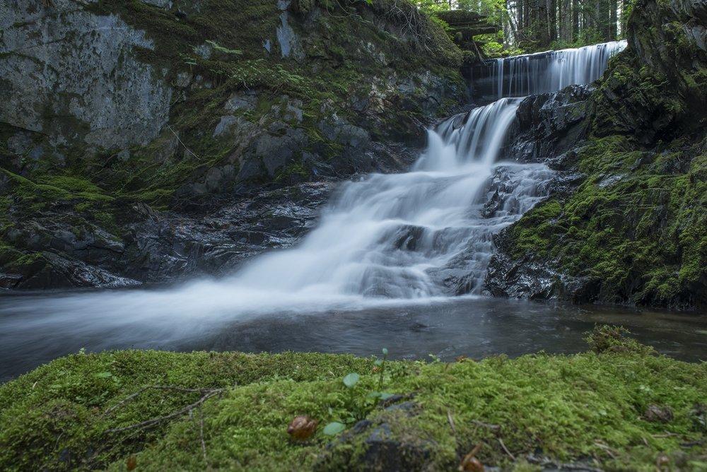Jumbo waterfall near the Treadwell Mine Ditch.