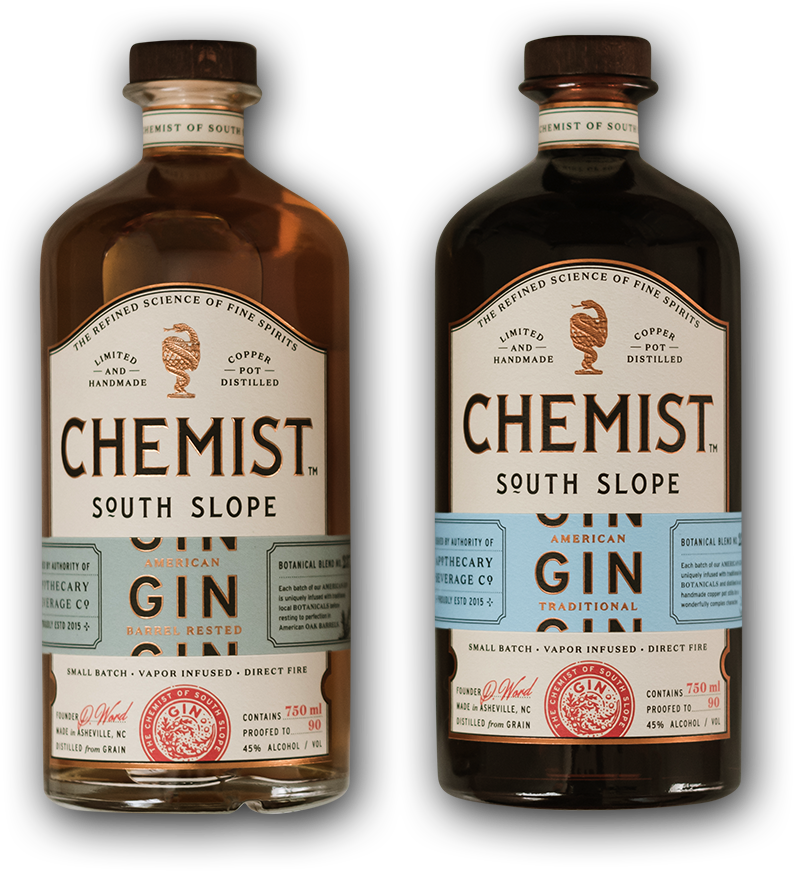 Two bottles of Chemist Gin