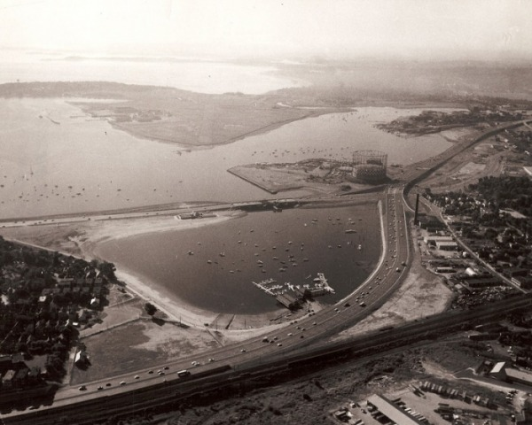 aerial shot of basin - 1960's