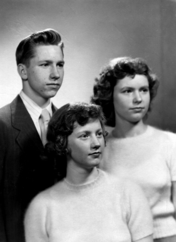 With my sisters Sally and Carolyn in 1949.