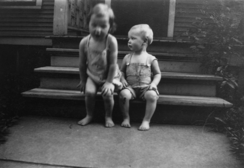 With my sister Sally in 1933.