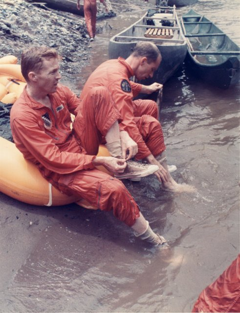 With fellow Apollo astronaut Stu Roosa, survival training in Panama, June 1967.