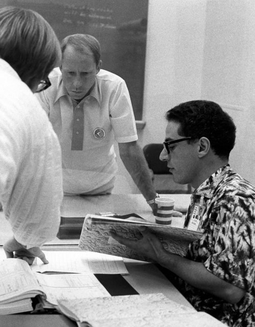Studying lunar geology with the irrepressible Farouk El-Baz, 1971.