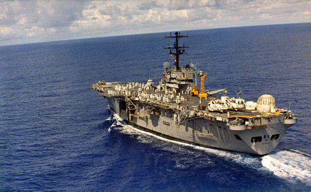 The USS  Okinawa , the ship that recovered us from the ocean after splashdown.