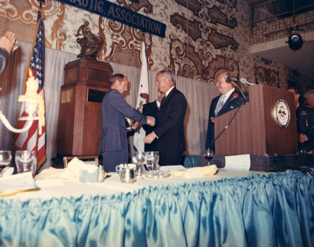 Receiving the Collier Trophy from Vice President Agnew.