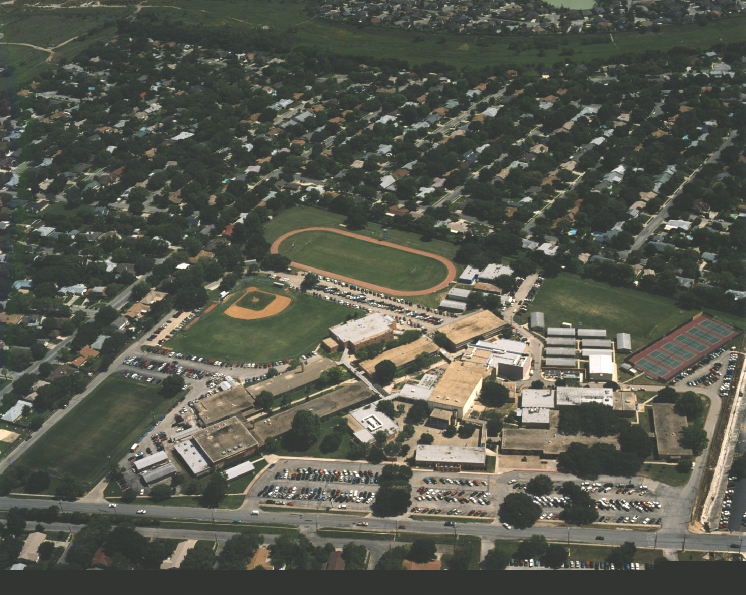 An aerial view of my high school from 2000, the year I graduated.