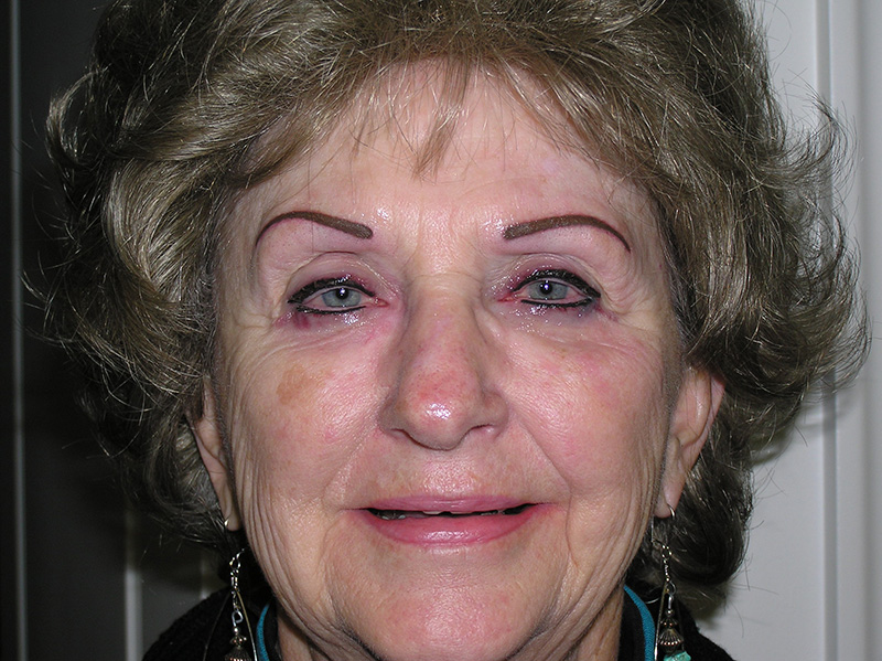 Eyebrows and eyeliner immediately after.