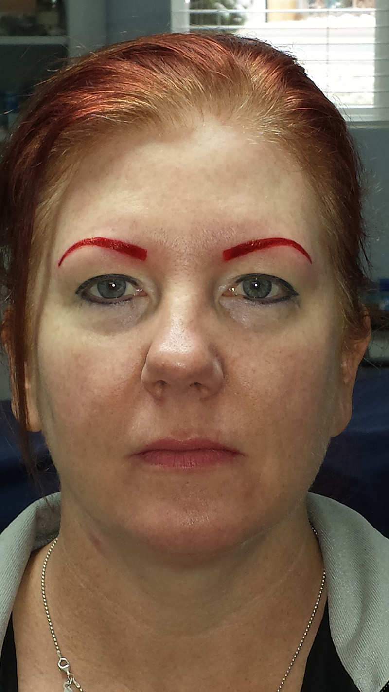 3 years later client wanted me to tattoo her brow and eyeliner much thicker and go darker on her lips.