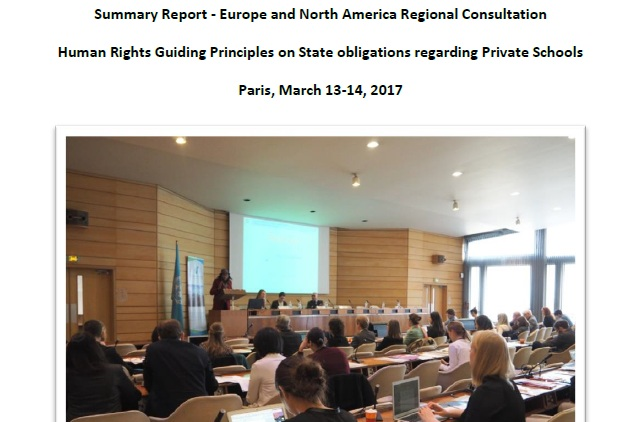 Europe and North America regional Consultation - Human Rights Guiding Principles on State obligations regarding Private SchoolsParis, March 13-14, 2017