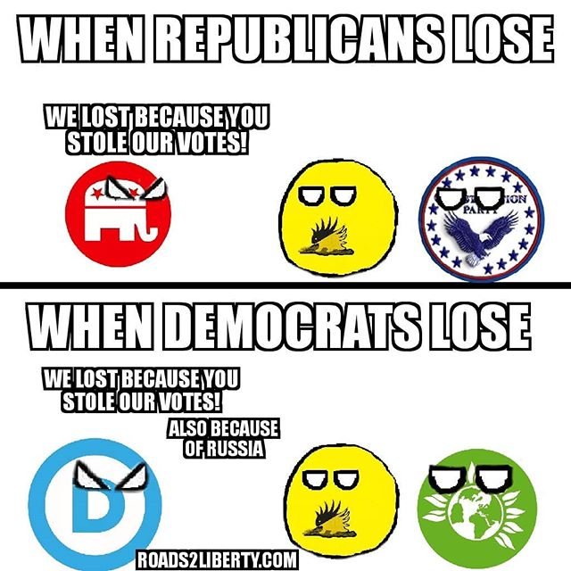 The #republican and #democrats just can't ever seem to blame themselves when they lose #lp #Libertarian #libertarianism #green #greenpartyusa #constitutionparty #politics #politicsmemes