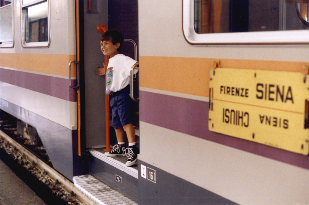 Niccoló on his first train ride from Florence to Siena