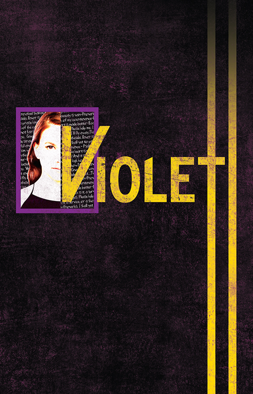 Violet  (New York City Center, 2013)  I was very excited to speak with Jeanine Tesori about her show. Her insightful take on it helped me find my way to the final art, which is one of my favorites.  I knew right away that I wanted to incorporate the star of the show, Sutton Foster and then somehow represent what she sees when she looks at herself.  As for the rest of the art...there's something dependable about those yellow lines painted on the road in the uncertain journey Violet takes to find her miracle.