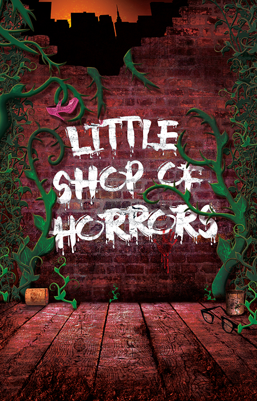 Little Shop of Horrors  (New York City Center, 2015)  I fell in love with the original movie musical,  Little Shop of Horrors  and saw a few productions Off-Broadway—even created multiple sets for various New Jersey productions—but I never thought I would have the opportunity to create original poster art for a production starring the legendary Ellen Greene. The talent just kept coming... Jake Gyllenhaal co-starred as Seymour, Taran Killam made his NYC stage musical debut as the dentist, Eddie Cooper played a soulful Audrey II, and Tracy Nicole Chapman, Marva Hicks, and Ramona Keller made up the Greek chorus of Chiffon, Crystal, and Ronnette, respectfully.
