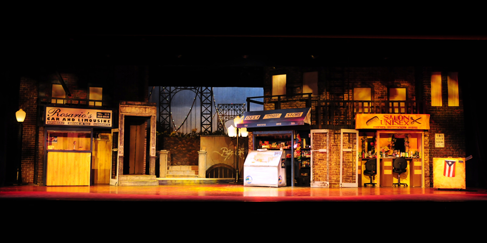 In The Heights,  2013   (Whippany Park High School) • Scenic Design: Paul Gaschler and Brian Toscano • Lighting Design: Brian Lynch