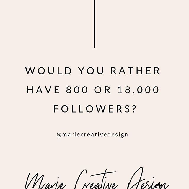 "Would you rather have 800 followers or 18,000 followers?⠀ ⠀ When I start working with a client, they usually have this preconceived notion that the more followers they have, the more business they will get. ⠀ ⠀ This is totally false!⠀ ⠀ Marilyn, a previous client of mine, bought followers for her Instagram and reached 18k. She got tons of likes and generic comments that said, ""Love your content, keep up the good work."" or ""👍👍"" ⠀ ⠀ And guess what? ⠀ ⠀ Not a single one of those people bought anything from her! ⠀ ⠀ On the other hand, Ashley, another one of my clients, had around 400 followers and about  43% of her followers were highly engaged, signed up for her email list, or bought something from her. ⠀ ⠀ My goal isn't to skyrocket your following on social media because followers do not equate to sales. ⠀ ⠀ My goal is to help you build a community online. My goal is to help your followers trust you.  My goal is to help your followers see you, I mean really see you and see the value you can bring to them. ⠀ ⠀ So what would you rather have, 18,000 or 800 followers?⠀ .⠀ .⠀ .⠀ #brandingandmarketing⠀ #brandstrategist⠀ #brandstrategy⠀ #businessdevelopment⠀ #businessadvice⠀ #instagrammarketing⠀ #socialselling⠀ #brandingidentity⠀ #branddesigner⠀ #socialmediasuccess⠀ #b2bmarketing⠀ #digitalmarketingtips⠀ #socialmediamanagement⠀ #socialmediastrategy⠀ #womenowned⠀ #womenprenuer⠀ #purposedriven⠀ #bizbabe⠀ #ladybosses⠀ #femaleentrepreneurs⠀ #buildyourbrand⠀ #womanentrepreneur⠀ #businesscoaching⠀ #lifestylecoach⠀ #personalcoaching⠀ #marketingcoach⠀ #lifepurposecoach⠀ #lifecoachingtips⠀ #lifeadvice⠀ #motivation"