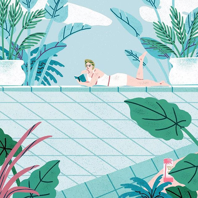 Yee-ow! It's been a scorching summer! One of the illustrations in a series for @palmbayspritz ☀️💦