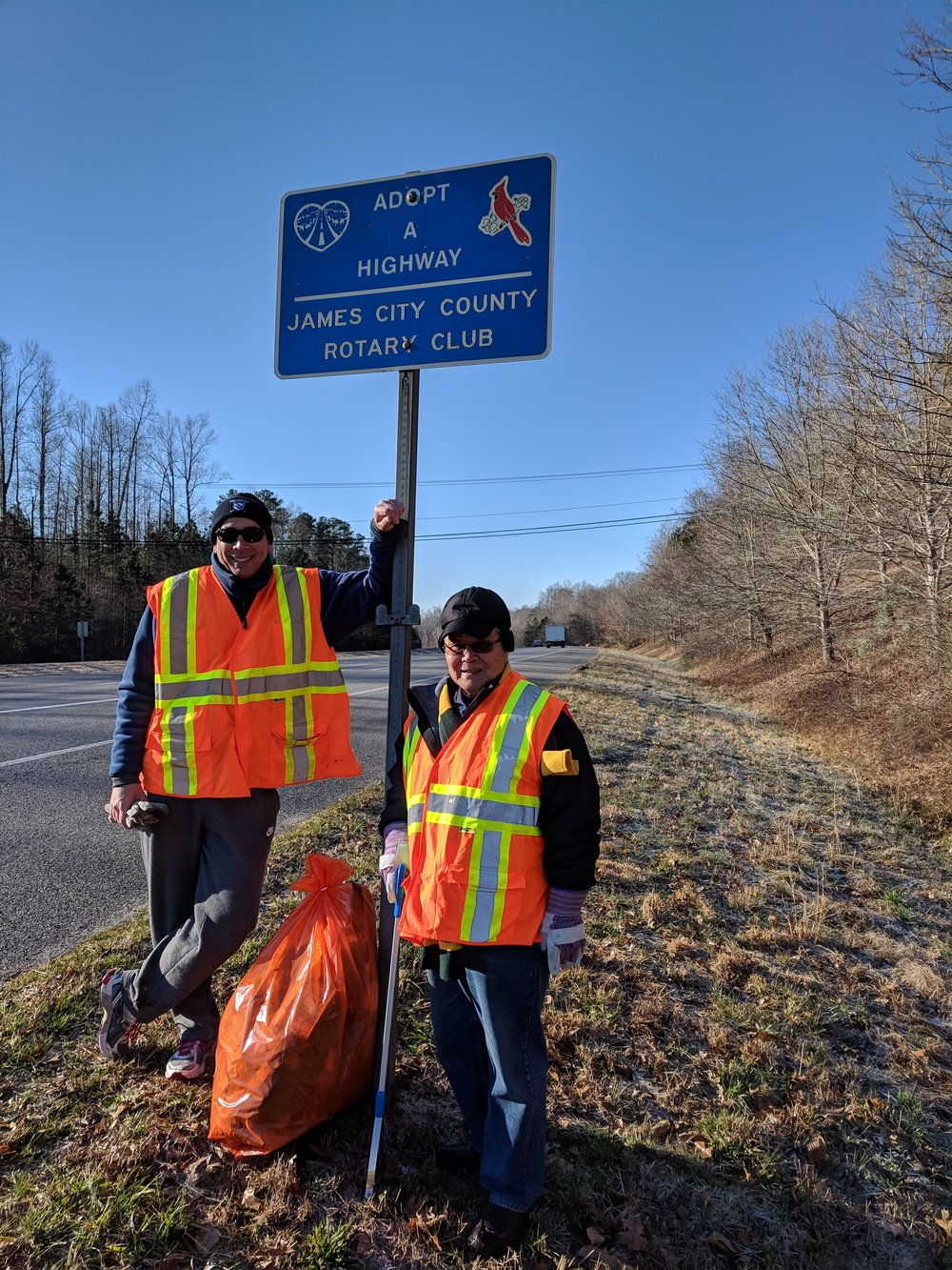 Community service - Our President Bill and Paul supporting our Highway Cleanup project on a chilly day!