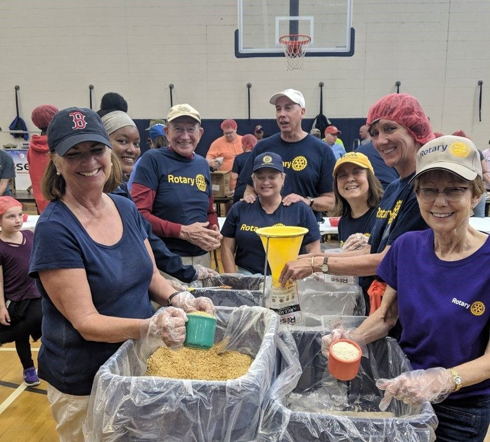 rise against hunger event - Local Rotarians come together to pack 15,000+ nutritious meals in 90 minutes, to feed starving people, as part of Rise Against Hunger to end hunger by 2030