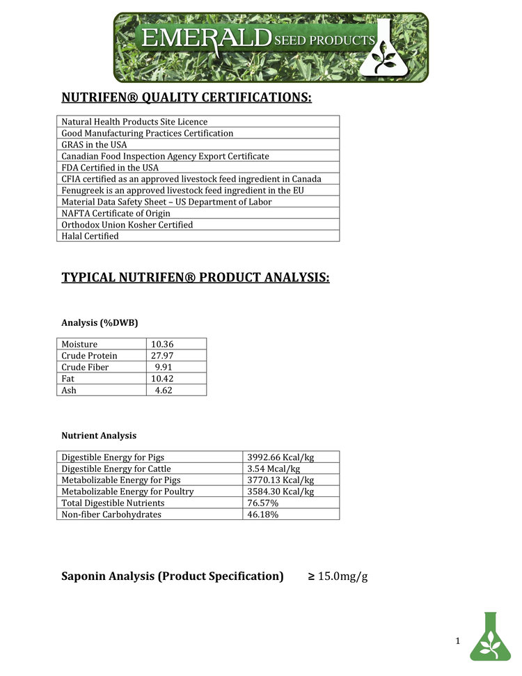 Nutrifen Specification And Analysis Sheetbr Emerald Seed Products