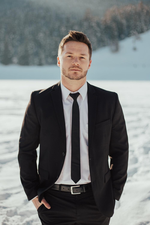 Valentine's couple shoot groom black suit Utah wedding photographer