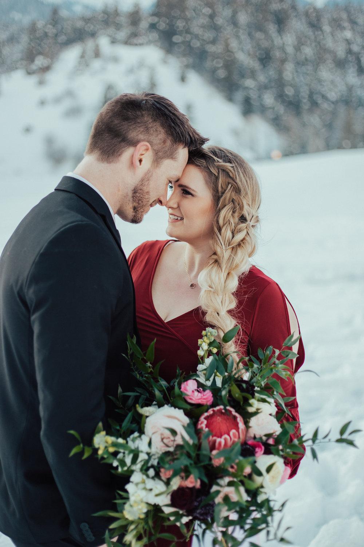 Romantic Valentine's couple red pink bouquet Utah wedding photographer