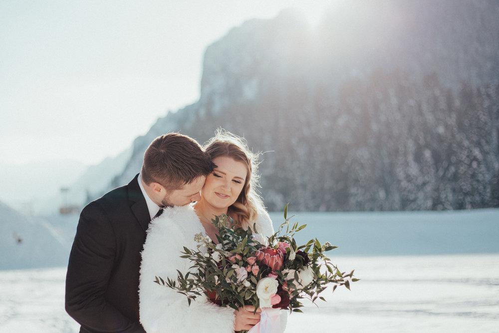 Romantic winter Valentine's mountain couple shoot bouquet Utah wedding photographer